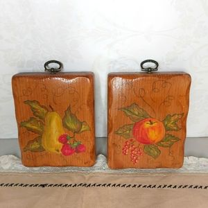 Vintage Country Chic Wood Pear Apple Wall Decor